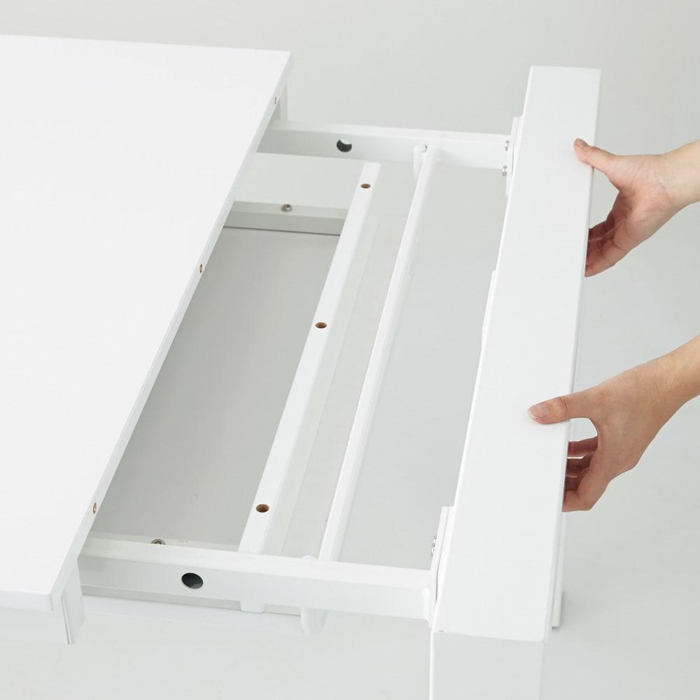 Steady 伸長式ダイニングテーブル 幅140cm・伸長時200cm エクステンション天板には幕板が付いているので、伸長時もレールが見えずにフラットですっきり。