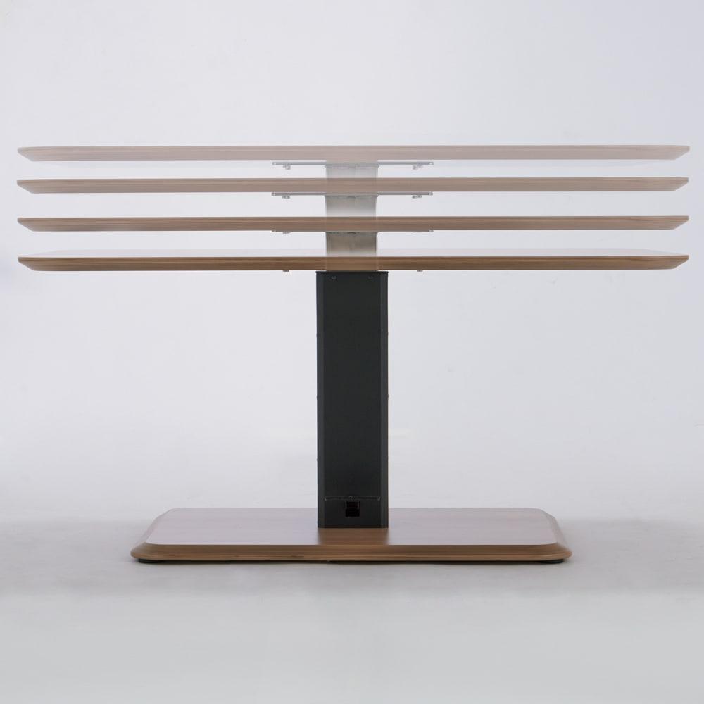 ホワイト・4点セット[テーブル幅120cm×80cm] HORA/ホーラ LDソファシリーズ 足元のレバーを踏み、天板に手を添えて高さが調節できます。