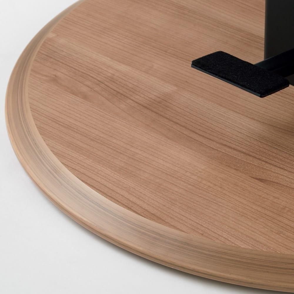 HORA/ホーラ 昇降式テーブル 角テーブル 台座部分は極力角を無くす加工を施し、安全面にも配慮。