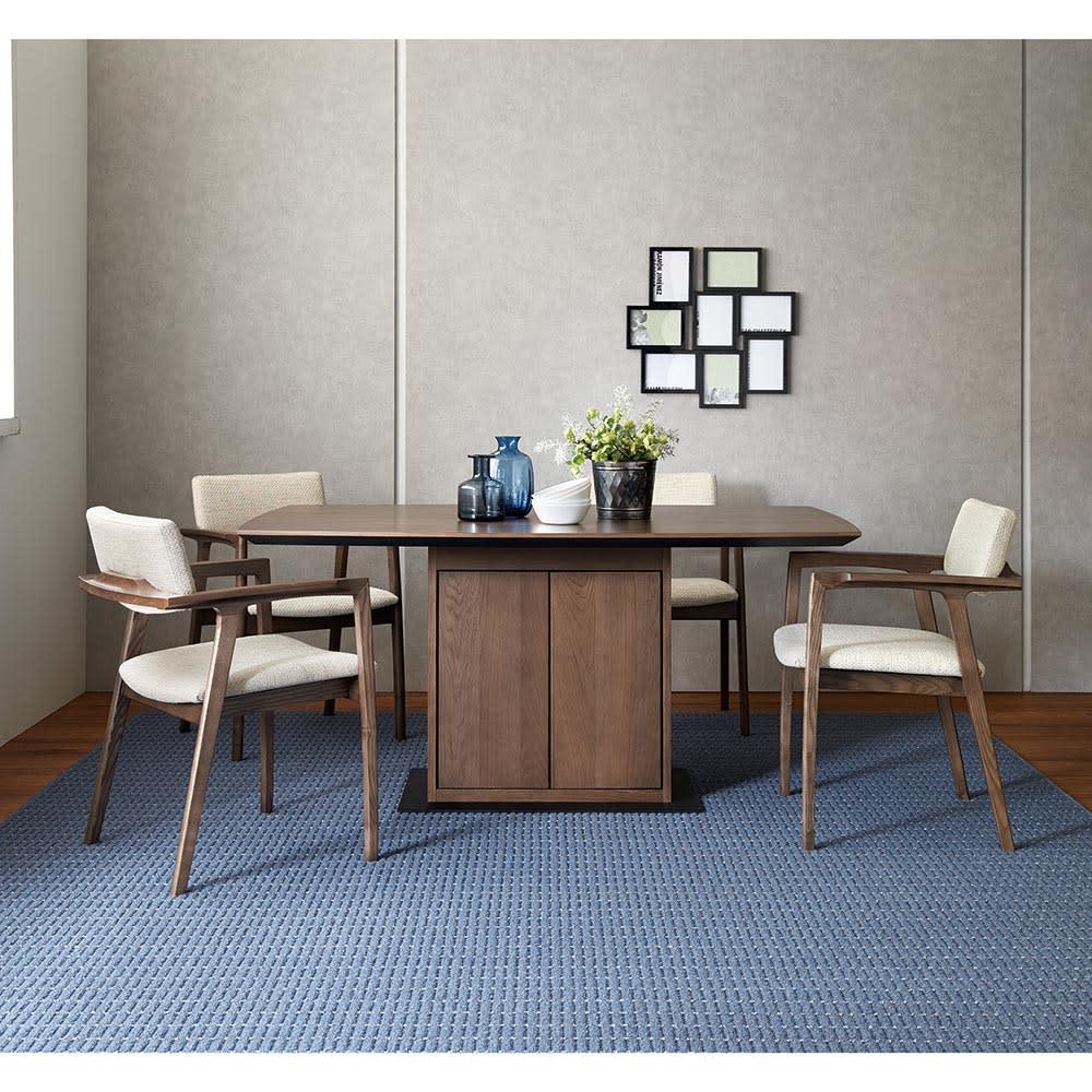 Grigia/グリージア 収納庫付きダイニングテーブル 幅150cm (イ)ベージュ 5点セット
