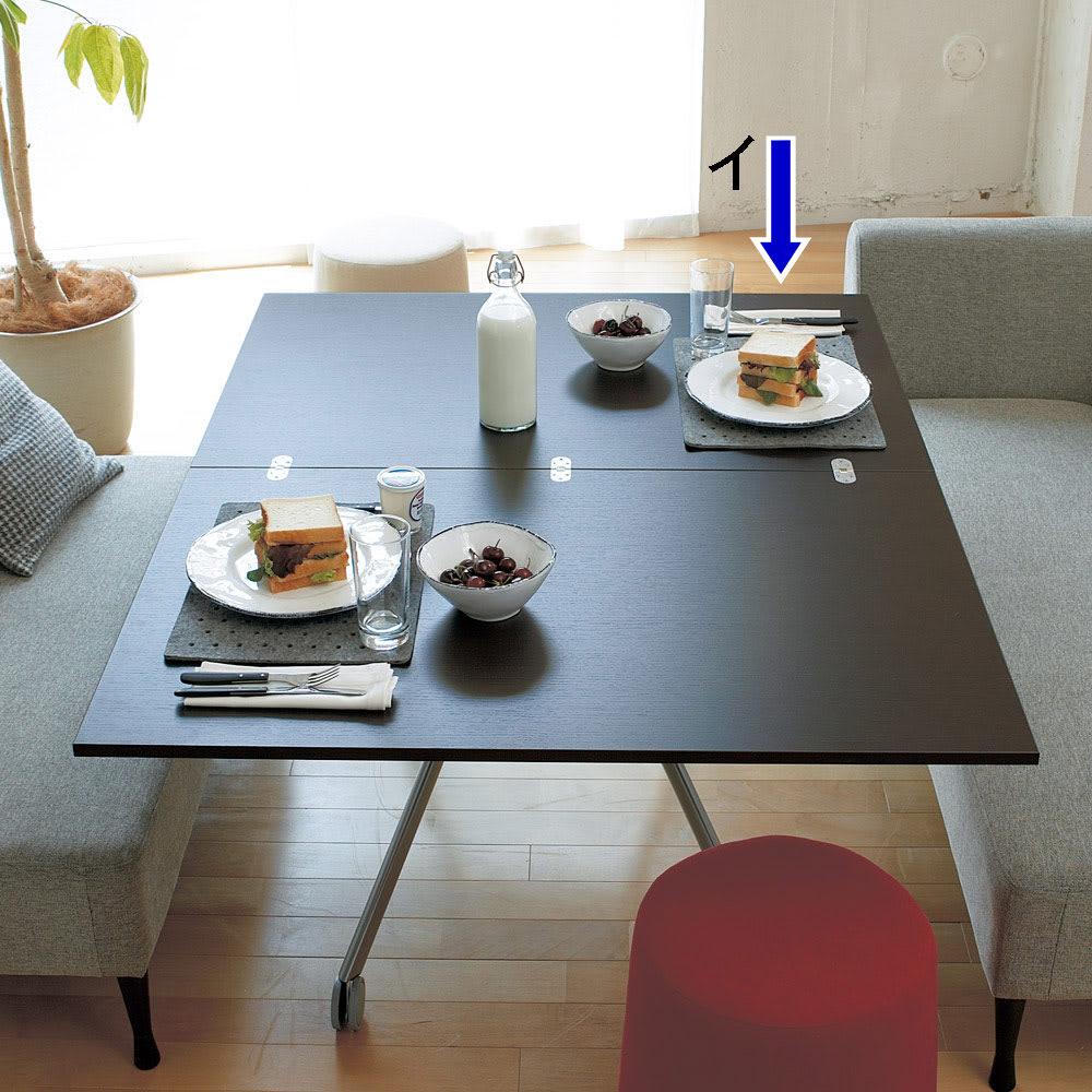 Lift-Up リフトアップ イタリア製昇降エクステンションテーブル[昇降式・伸長式・キャスター付き] テーブル幅110cm×70cm[伸長時140cm×110cm] ウェンジ どんなソファでも、お食事にぴったりの高さに微調整できます!