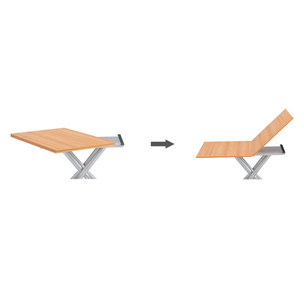 Lift-Up リフトアップ イタリア製昇降エクステンションテーブル[昇降式・伸長式・キャスター付き] テーブル幅110cm×70cm[伸長時140cm×110cm] テーブル伸長方法 天板をくるりと90度回して開くだけで、簡単に2倍の広さに早変わり。高さ調節もガス圧昇降式でスムーズ。片側のキャスタを浮かせれば移動も簡単です。