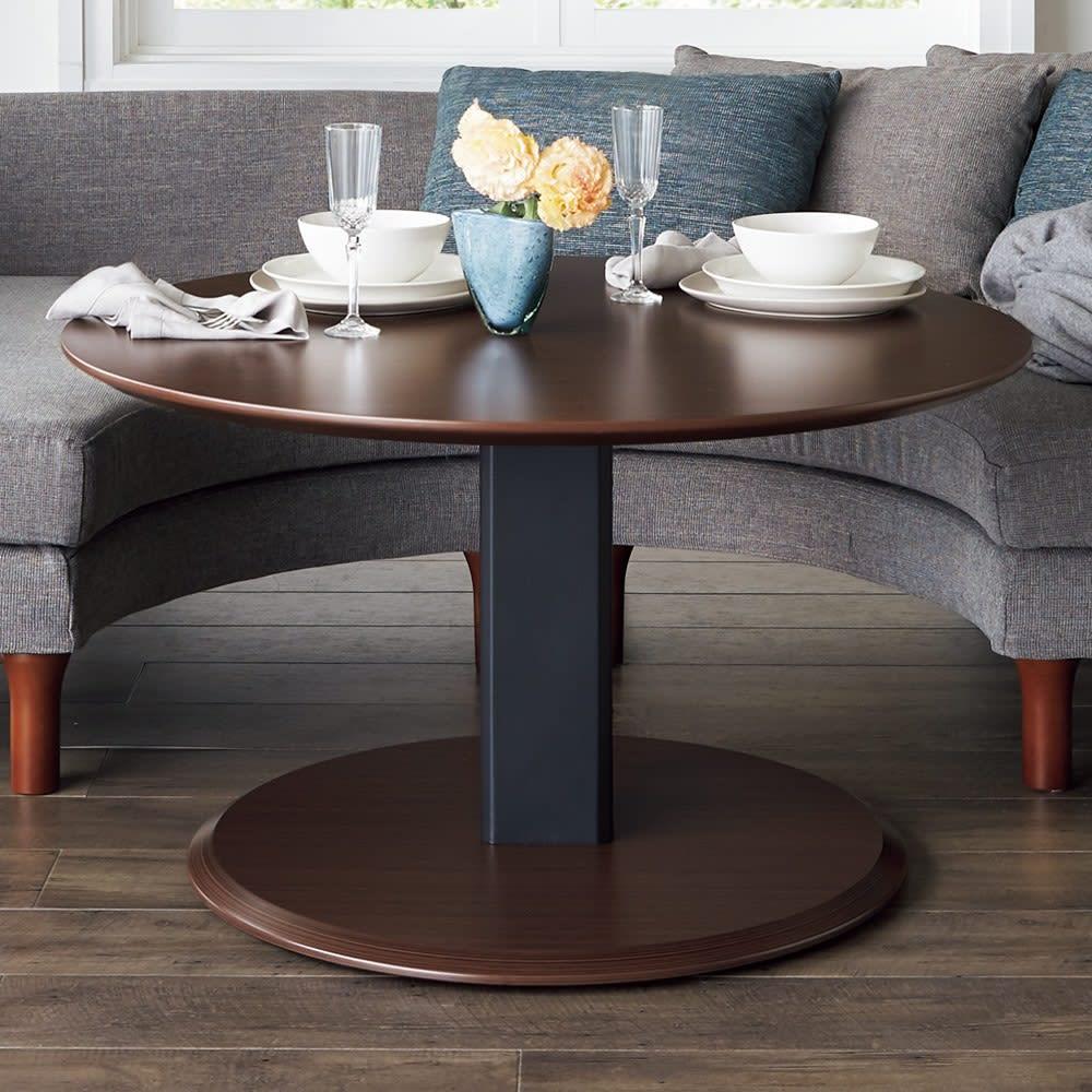 丸テーブル・ダークブラウン コーナー3点セット ソファダイニングシリーズ こちらのセットではダークブラウンの丸テーブルとなります。