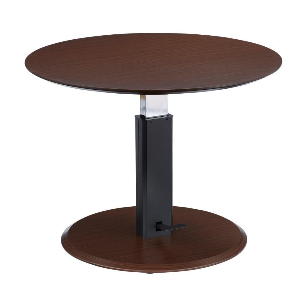丸テーブル・ダークブラウン コーナー3点セット ソファダイニングシリーズ テーブルの高さは57~75cmで変える事ができます。