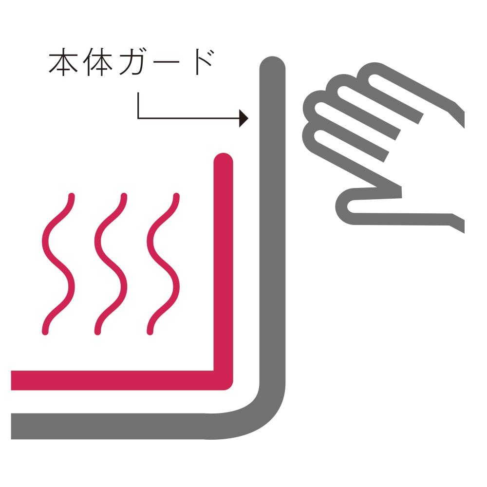 象印 STAN. /スタン ホットプレート 本体ガードが、プレート面よりも高いので、手が触れにくい構造です。