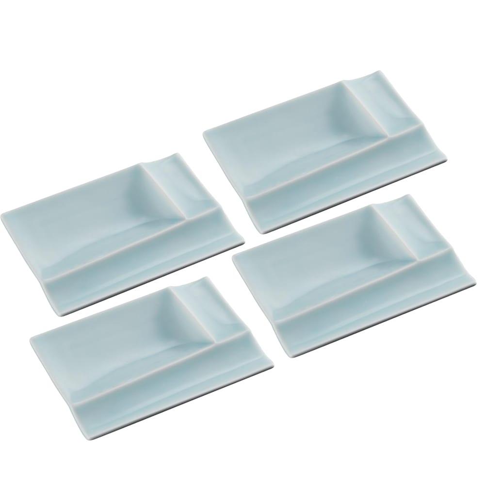 お箸が置けるパレット皿 幅13cm 4枚組  ブルー4枚