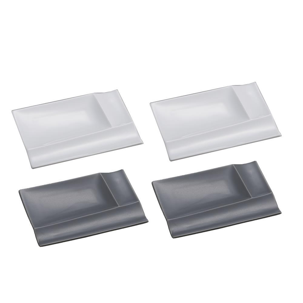 お箸が置けるパレット皿 幅13cm 4枚組  ホワイト2枚+グレー2枚 光の当て方により、色に違いが見られます。グレー色は5枚目の画像をご参照ください。