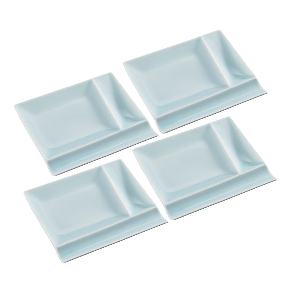 お箸が置けるパレット皿 幅17cm 4枚組  ブルー