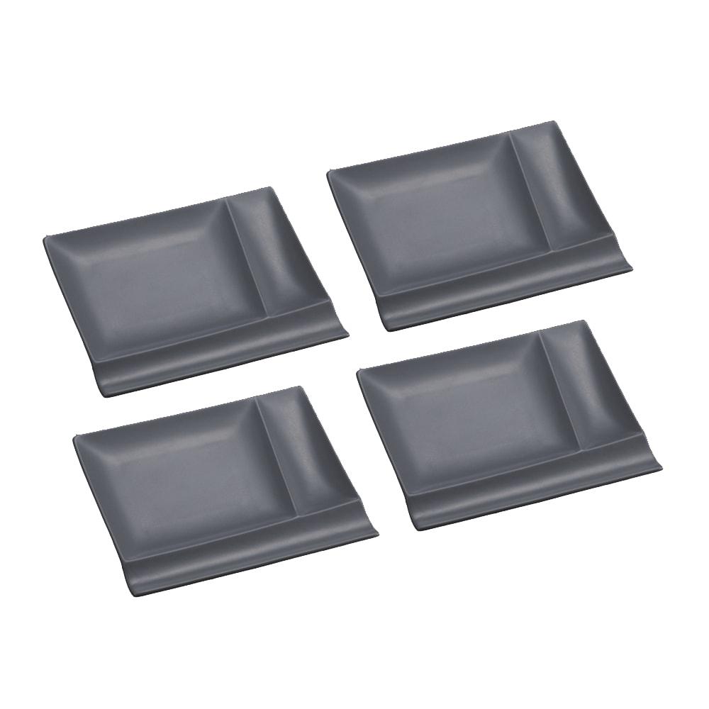 お箸が置けるパレット皿 幅17cm 4枚組  グレー4枚 光の当て方により、色に違いが見られます。グレー色は2枚目の画像をご参照ください。