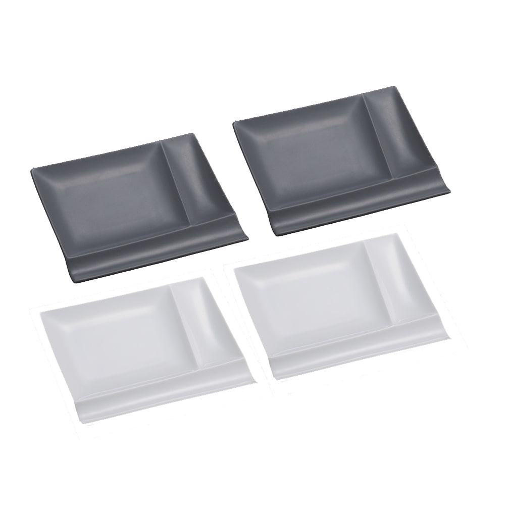お箸が置けるパレット皿 幅17cm 4枚組  ホワイト2枚+グレー2枚 光の当て方により、色に違いが見られます。グレー色は2枚目の画像をご参照ください。