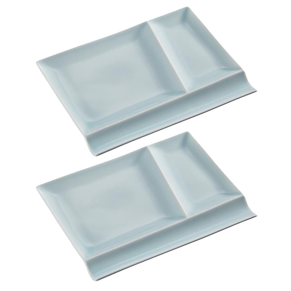 お箸が置けるパレット皿 幅24cm 2枚組  ブルー2枚
