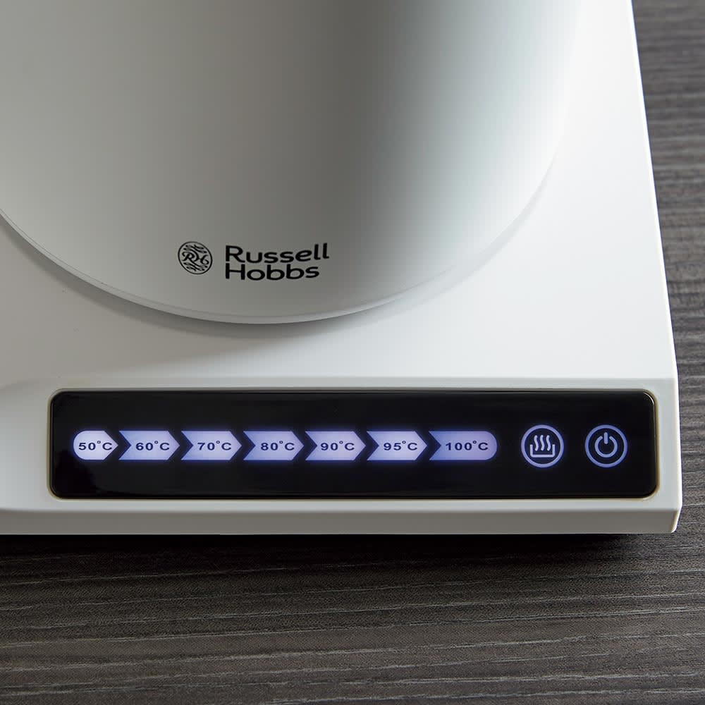 Russell Hobbs/ラッセルホブス Tケトル 50・60・70・80・90・95・100℃の7段階の温度調整もタッチパネルで簡単。