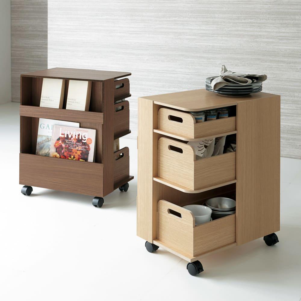 収納マルチワゴン 3段 キャスター付き キッチンに置いて乾物入れに、寝室に置いて、メガネや携帯などをひとまとめに。