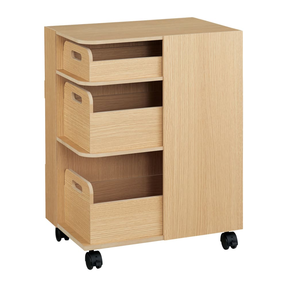 家具 収納 キッチン収納 食器棚 キッチンカウンター カウンターワゴン 収納マルチワゴン 3段 キャスター付き H86509