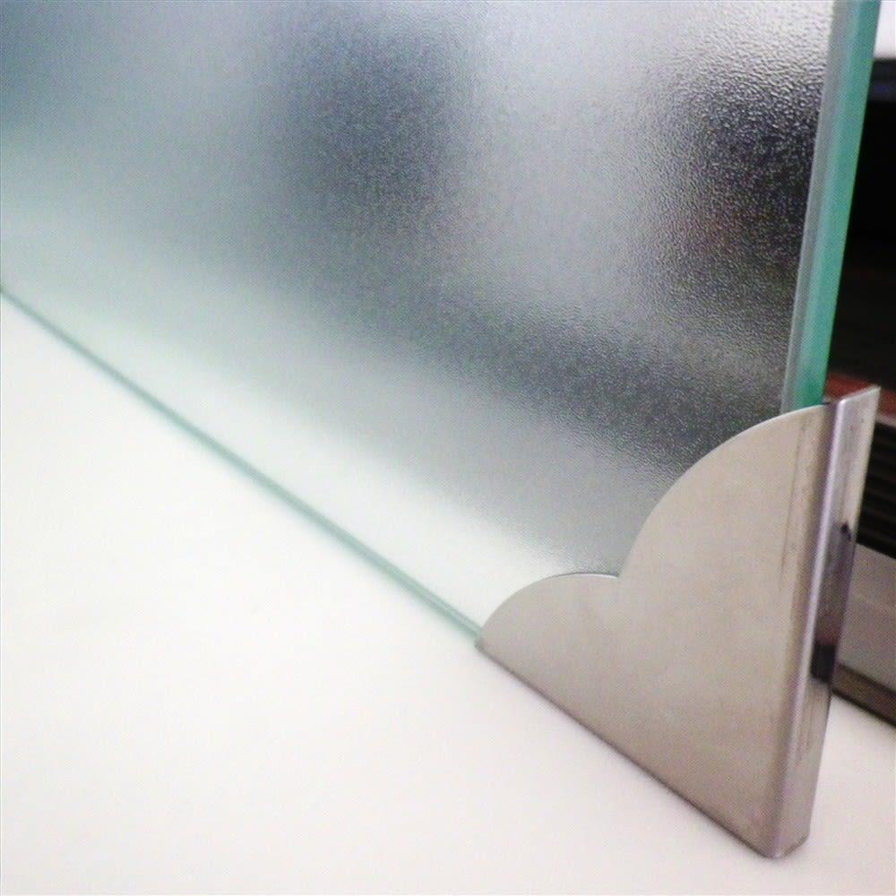 ガラスのコーナーレンジガード コンロ幅60cm用 金具はステンレス