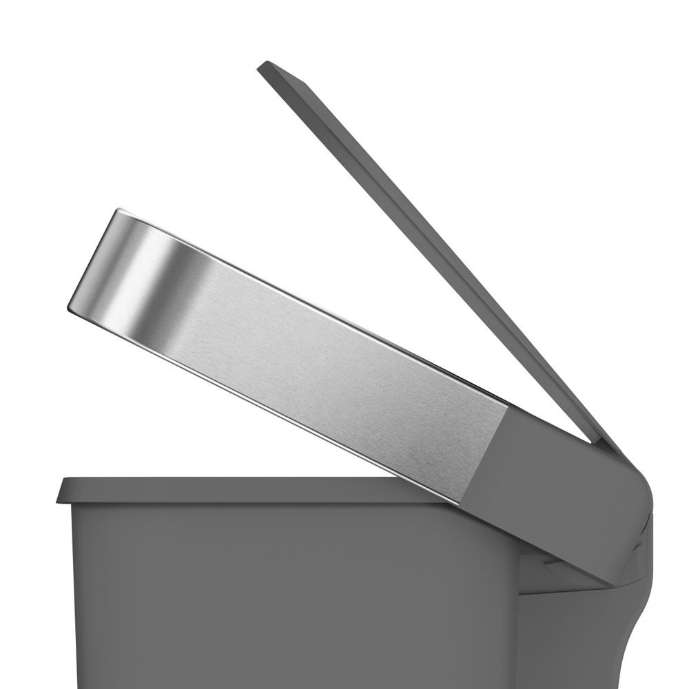 simplehuman/シンプルヒューマン ゴミ袋ホルダー付ペダルペール 蓋がゆっくり閉まるエアダンパー式。