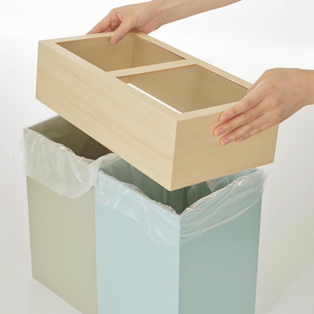 W-CUBE 2分別ダストボックス 蓋をかぶせれば、ビニール袋を目隠しできます。