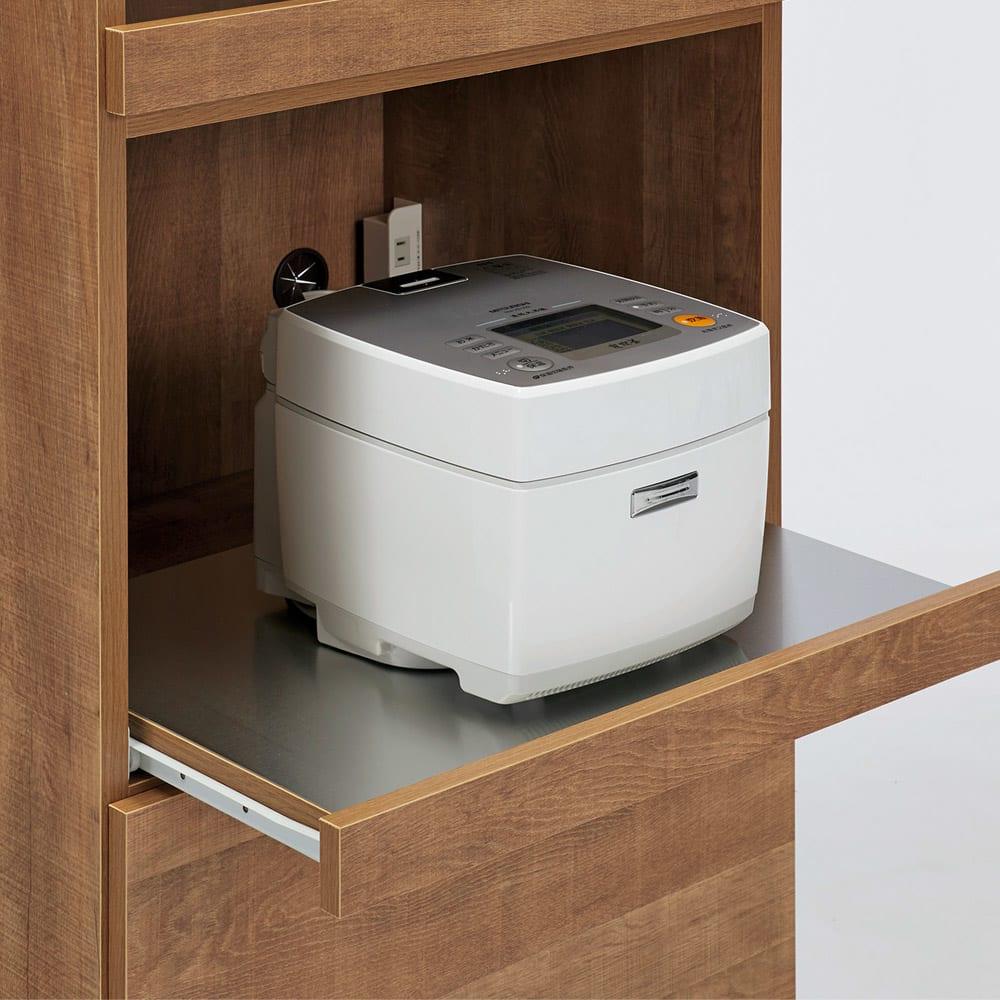 Cretty/クレッティ ステンレス天板 ナチュラルモダンキッチン収納 カウンター幅60cm 炊飯器など蒸気の出る家電が使いやすいスライドテーブル。