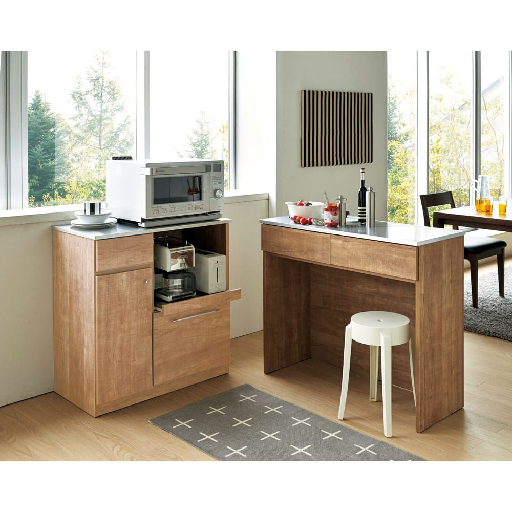 Cretty/クレッティ ステンレス天板 ナチュラルモダンキッチン収納 カウンター幅80cm 同シリーズの間仕切りキッチン収納と併せて、ご自宅のスペースに合わせた自在な使い方ができます。
