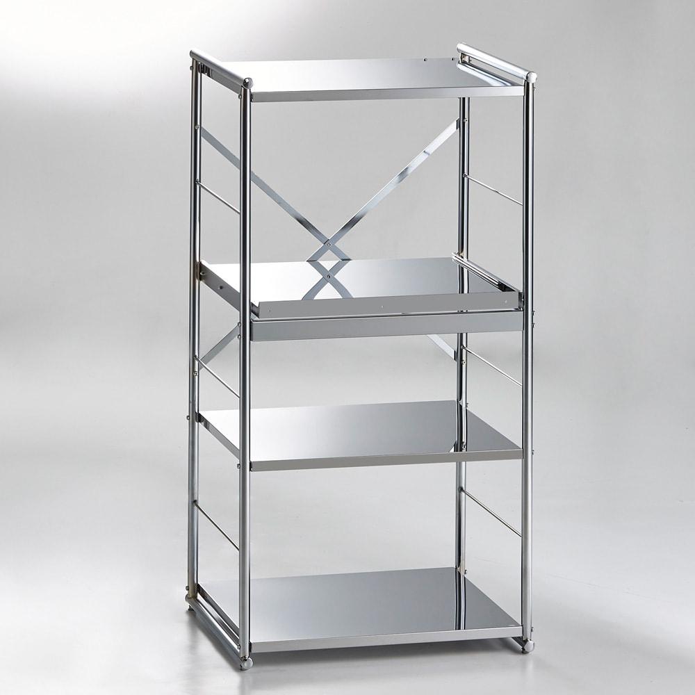家具 収納 キッチン収納 食器棚 レンジ台 レンジラック キッチンラック ステンレス大型レンジラック ミドルタイプ オープン H87007