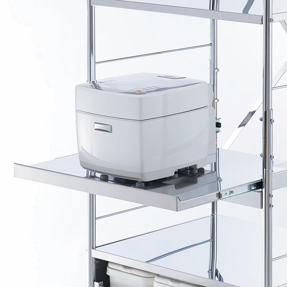 ステンレス製大型レンジ対応ラック ハイタイプワゴン 炊飯器やポットなどの蒸気を逃がせる便利なスライドテーブル付き