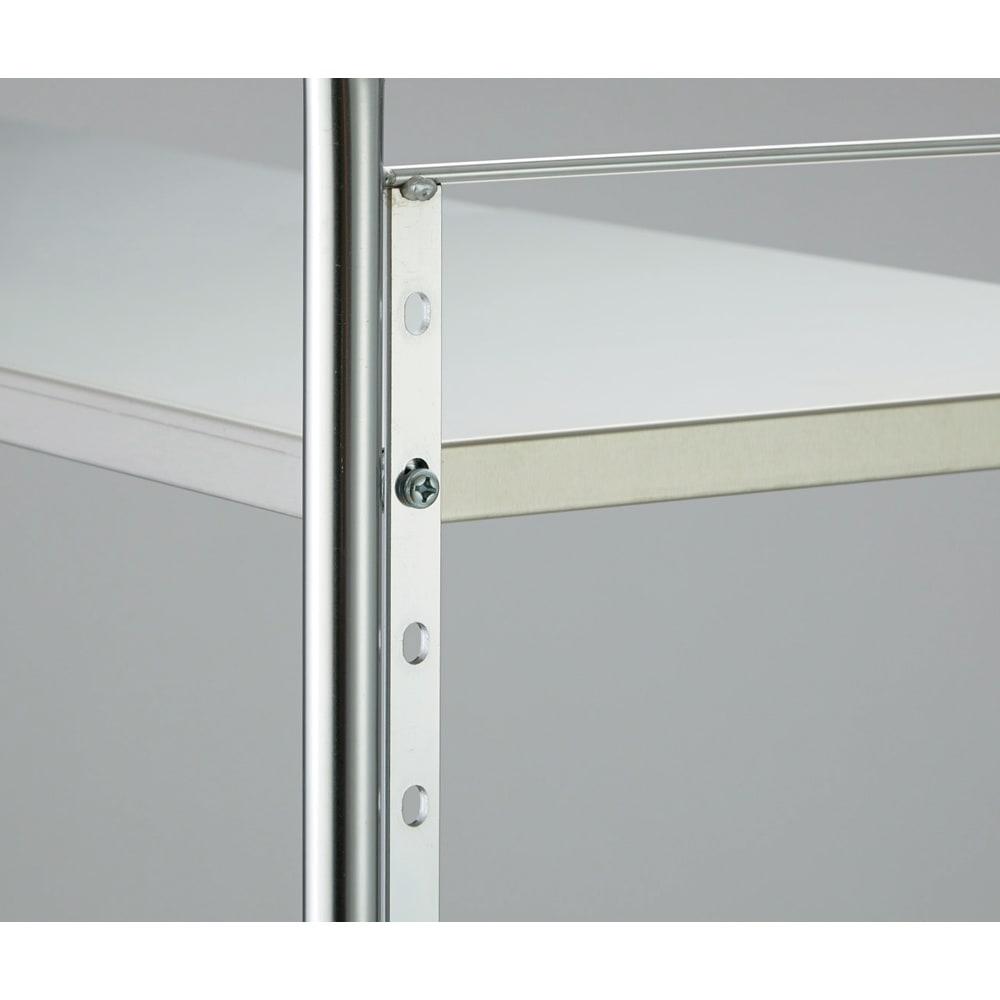 ステンレス棚ダストボックス上幅伸縮ラック 棚3段 棚板の高さは4cmピッチで調節可能。