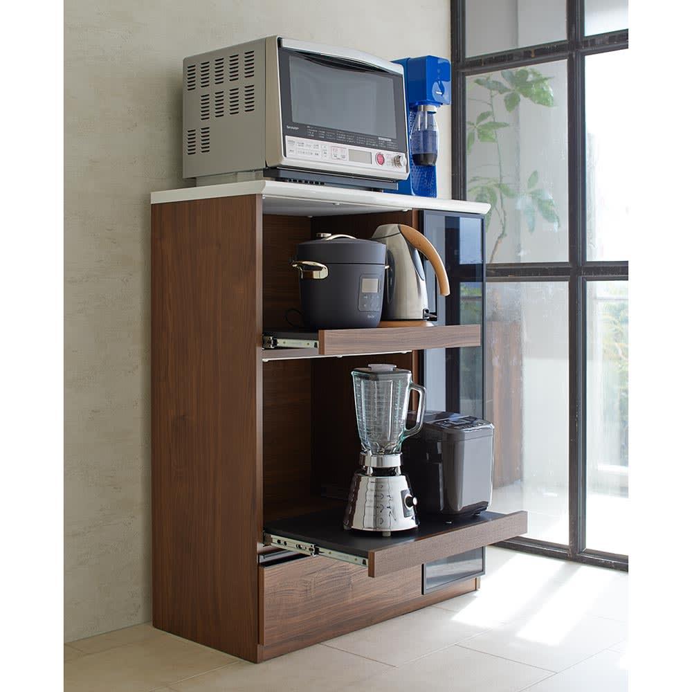 Torerant/トレラント コンパクトレンジカウンター 幅89.5cm・家電収納2段(高さ115cm) 家電収納部が二つ付いて、小さな時短家電もまとめて収まります。お家で過ごす時間が長くなった昨今、増えた家電を整理したいときにぴったり。