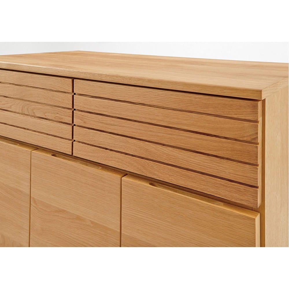 Large/ラルジュ 横格子ダストボックス 3分別(ペール3個付き) 幅82cm奥行40cm高さ87.5cm オークとウォルナットの突板を贅沢に使用。横格子デザインはお部屋を広く感じさせる効果も。
