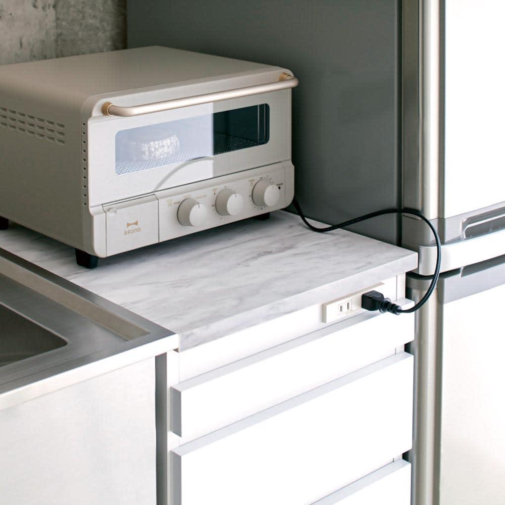 Marble Nome/マーブルノーム コンセント付き作業台 奥行45cm 幅40cm:トースターも置けるサイズ