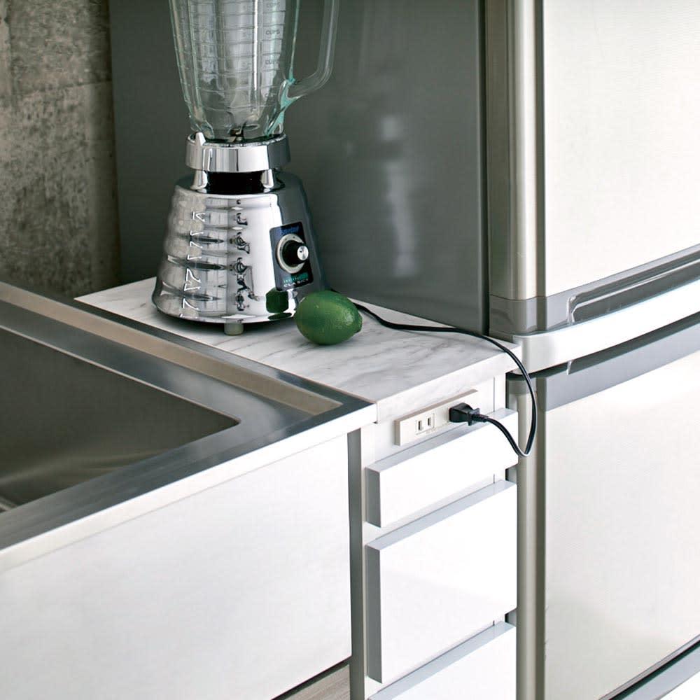 Marble Nome/マーブルノーム コンセント付き作業台 奥行45cm 幅20cm:小型家電のスペースに。