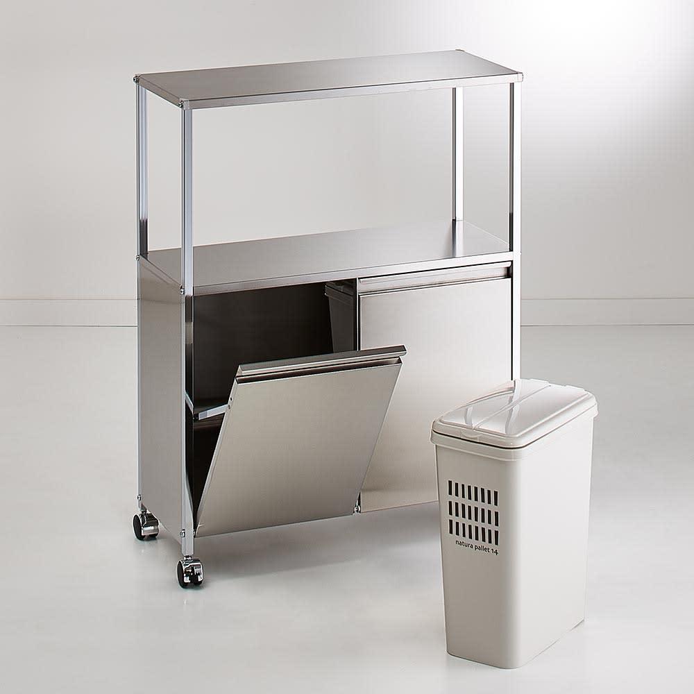 ステンレス作業台ワゴン ダスト2分別 幅68奥行30cm ペールは取り出して洗えるので、清潔を保てます。