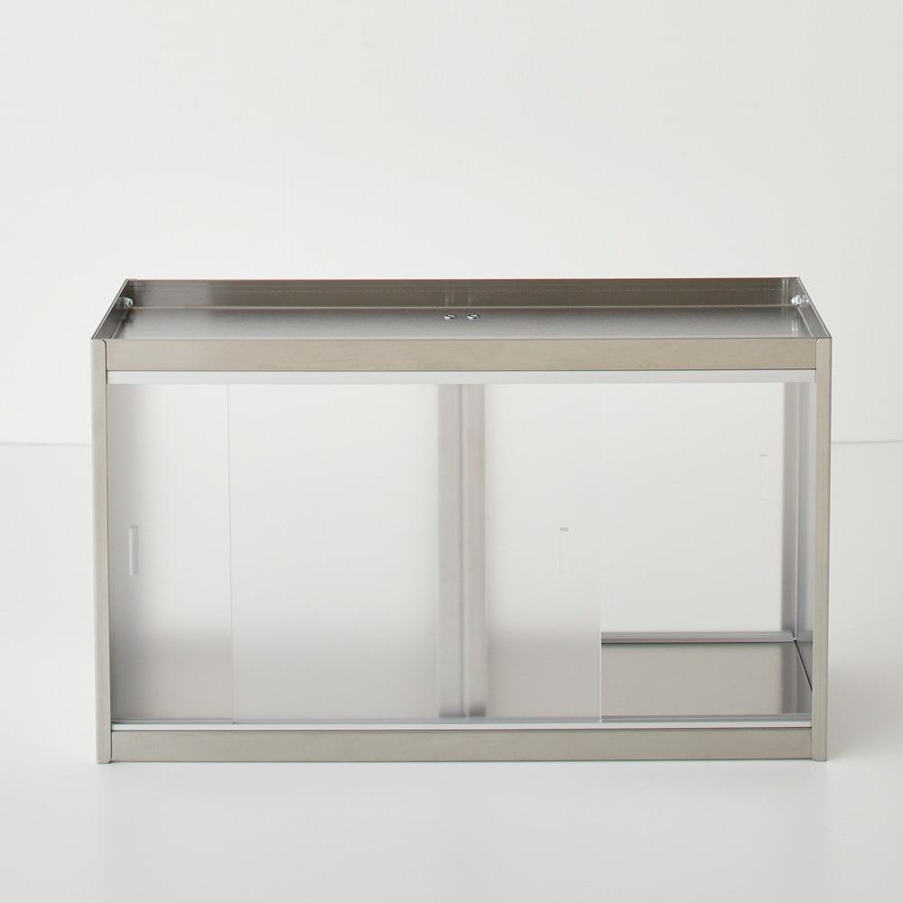ステンレスカウンター上収納 引き出しなし 幅45奥行15cm アクリル樹脂製の扉は半透明で中の収納物も確認しやすいです。