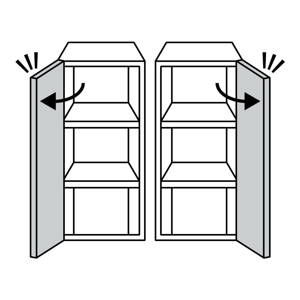 Anya/アーニャ キッチンすき間収納 ハイタイプ(引き出し3段) 幅20cm奥行45cm高さ178cm 左側画像:左開き、右側画像:右開き