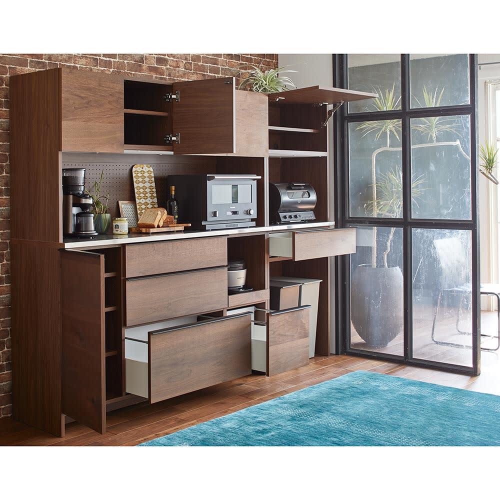 Lana/ラナ ステントップボード幅160cm コンパクトでも充実の収納ボリュームでキッチンもあっという間にすっきり。
