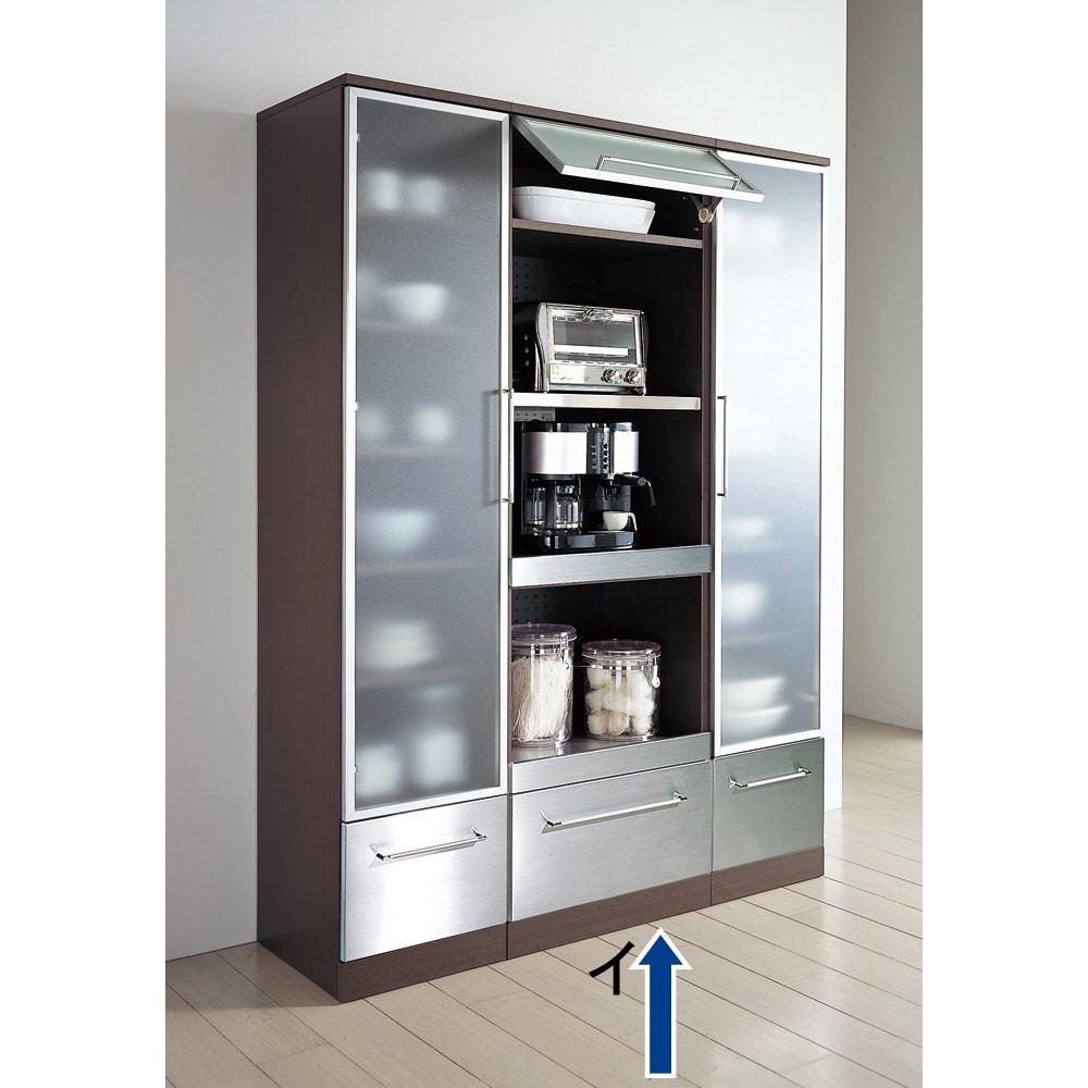 SmartII スマート2 ステンレスシリーズキッチン収納 ステンレスレンジボード 幅60cm ウェンジ系 同シリーズのキッチンキャビネット幅40左開きとキッチンキャビネット幅40右開きの組み合わせ例です。