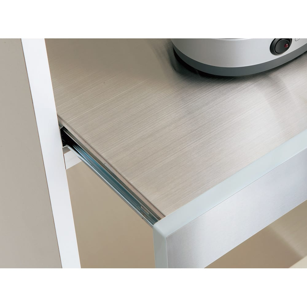 SmartII スマート2 ステンレスシリーズキッチン収納 ステンレスレンジボード 幅60cm ステンレススライドテーブル スライドテーブル天板は熱に強いステンレス。家電の使用時には引き出して使えます。