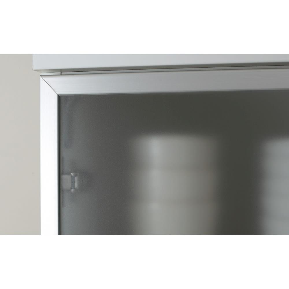 SmartII スマート2 ステンレスシリーズキッチン収納 扉内引き出し付きキッチンキャビネット 幅70cm フロストガラス調(アルミ枠) フロストガラス調扉にアルミフレームのクールなデザイン。