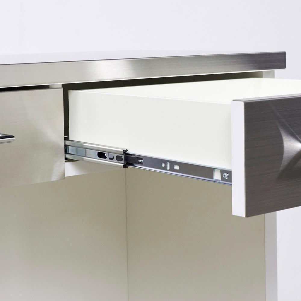 SmartII スマート2 ステンレスシリーズ 間仕切りオープンキッチンカウンター 幅90.5cm高さ100cm いっぱい引き出せるフルスライドレール採用