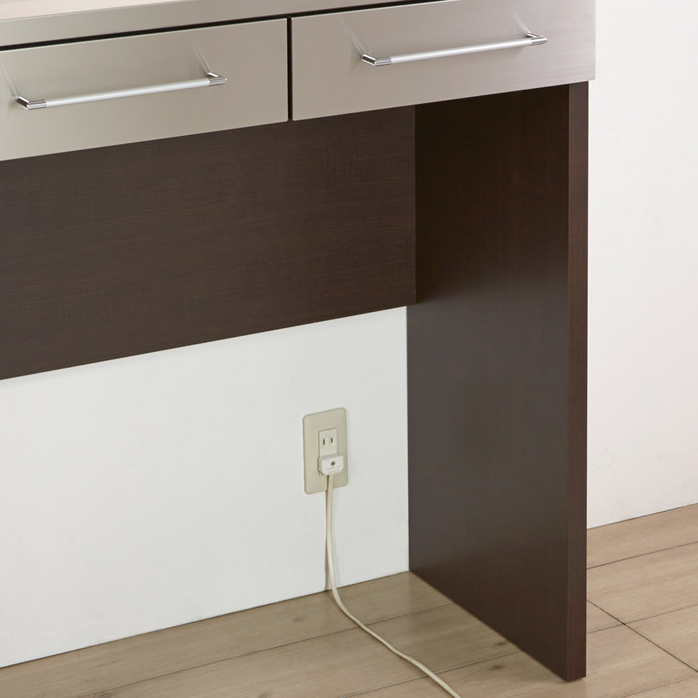 SmartII スマート2 ステンレスシリーズ 間仕切りオープンキッチンカウンター 幅90.5cm高さ100cm 背面下側はオープンなので、壁のコンセントが使用できます