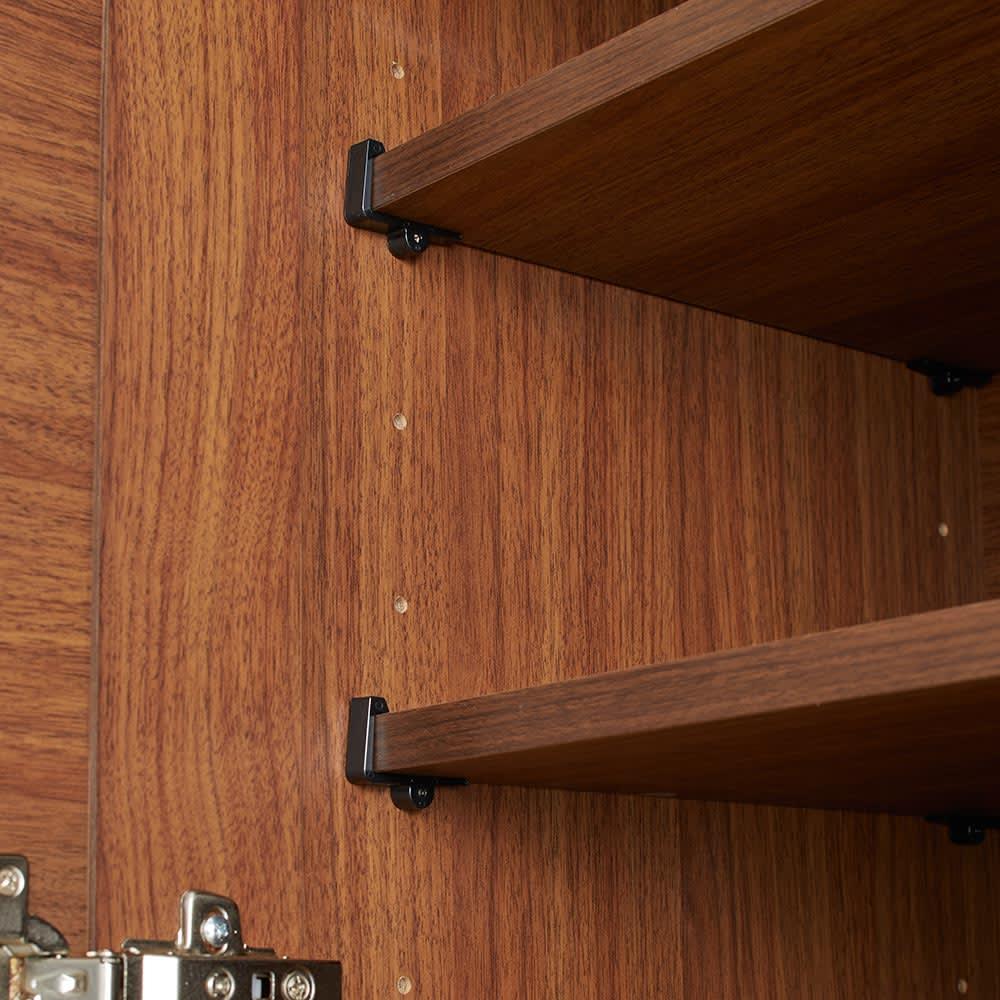 Rhone/ローヌ キッチンシリーズ オープンボード 幅120.5cm 扉内の棚板は6cmピッチで高さ調整できます。