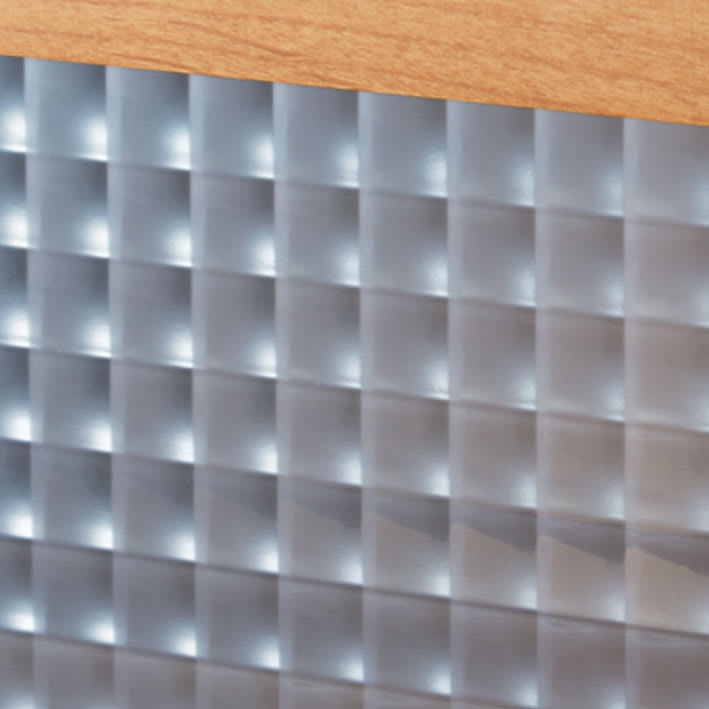 Pippi/ピッピ カウンター下収納庫 引き戸 幅150奥行32cm 【クロスガラス】美しい輝きで内部をほどよく目隠し。