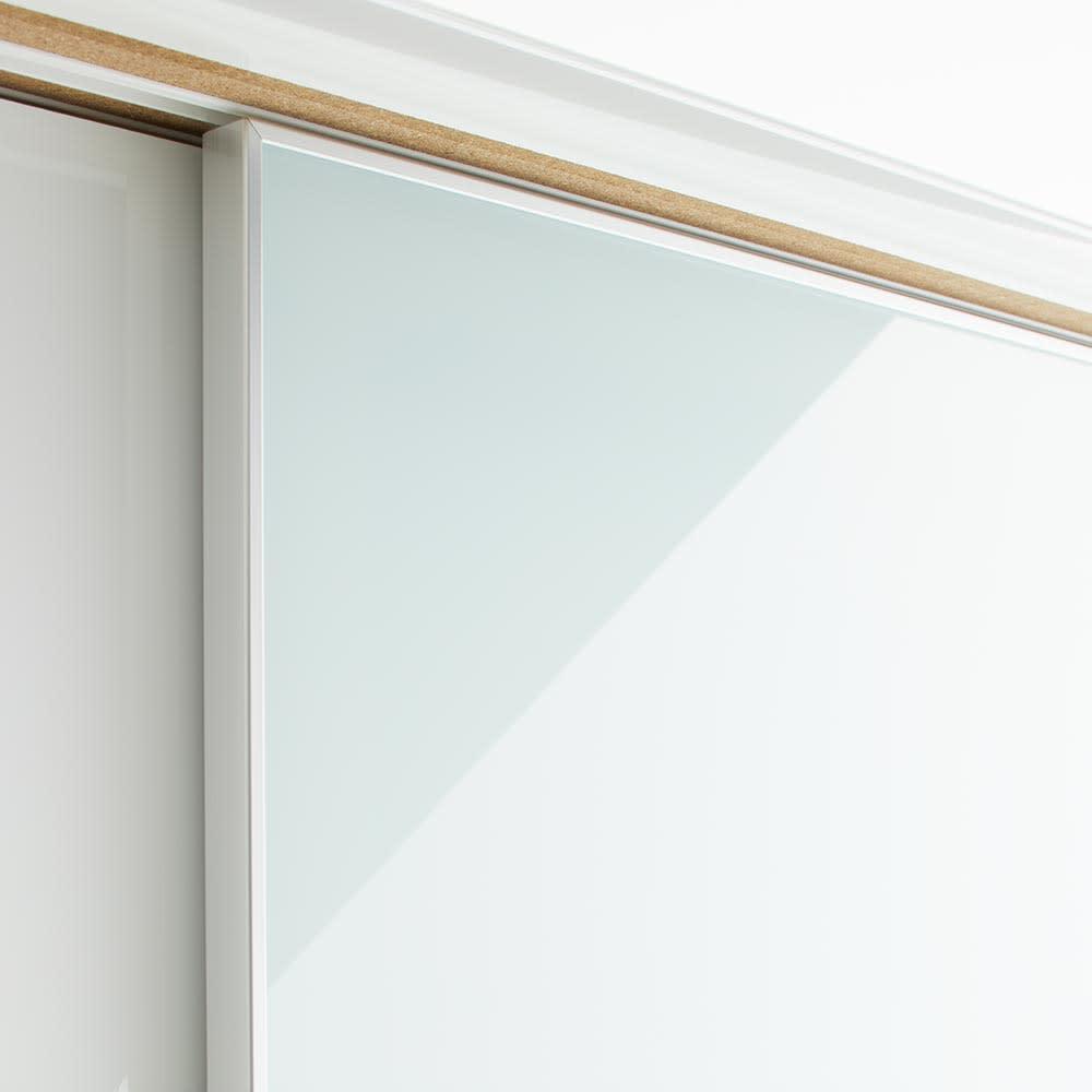 Orga/オルガ スライドキッチン収納 キャビネット 幅160cm 収納物が見えすぎないスモークガラスを採用。(ア)ホワイト