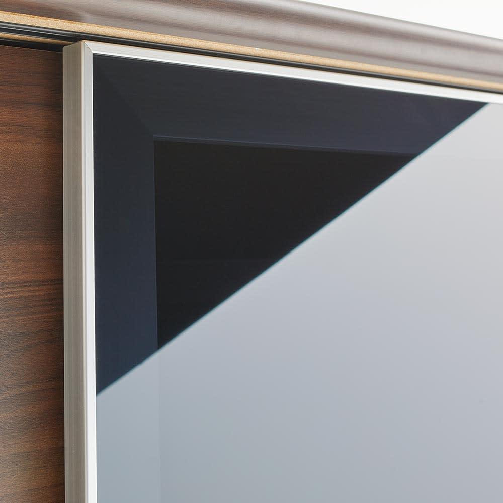 Orga/オルガ スライドキッチン収納 キャビネット 幅160cm 収納物が見えすぎないスモークガラスを採用。(イ)ダークブラウン