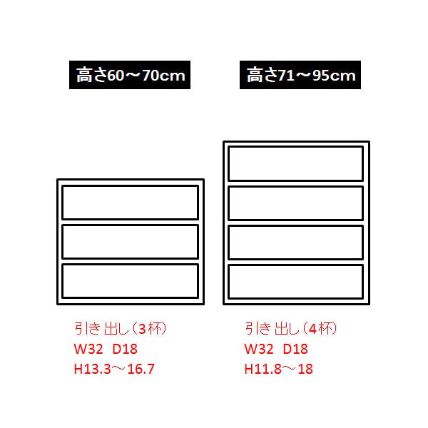 Ordre/オルドル 高さ1cm単位オーダー 薄型カウンター下収納庫チェスト [オーク/幅60cm 高さ60~95cm] 内寸図(cm)