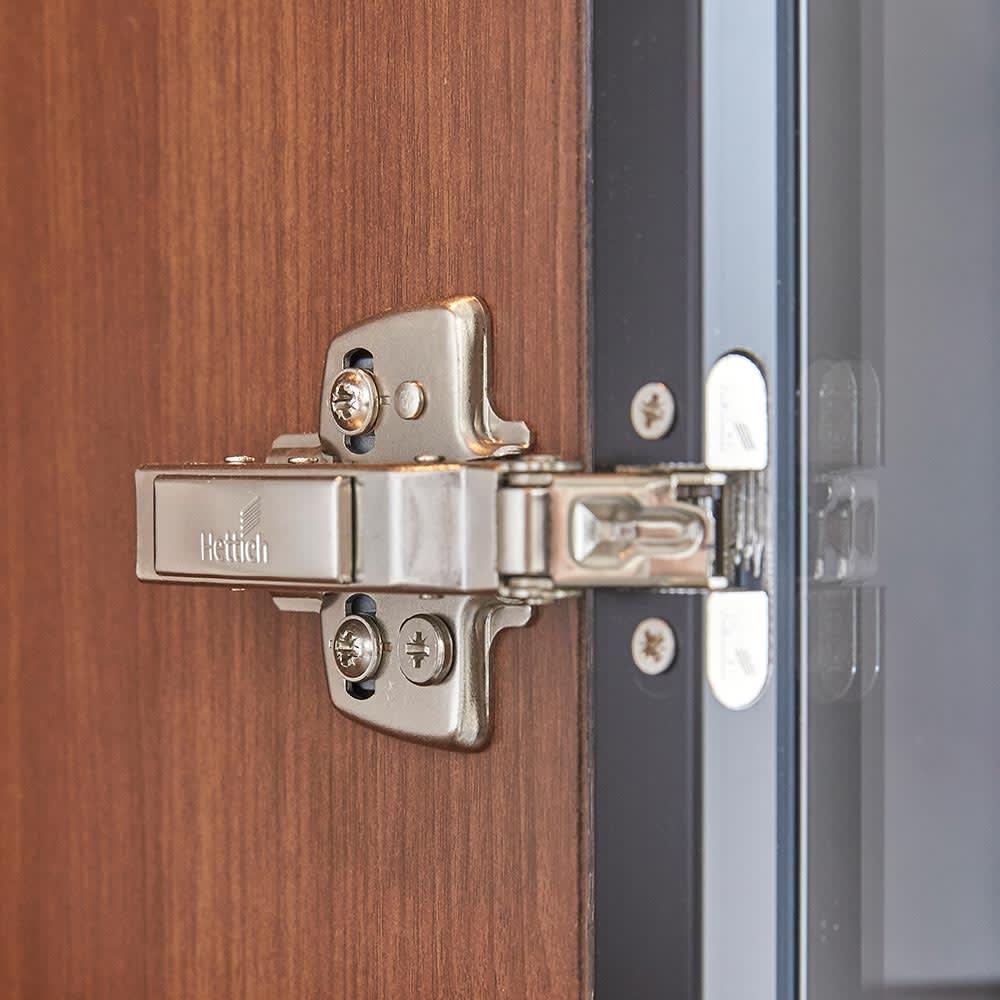 Sorrento/ソレント リビングキャビネット 幅76高さ183cm ガラス扉 LED照明付き 扉の丁番