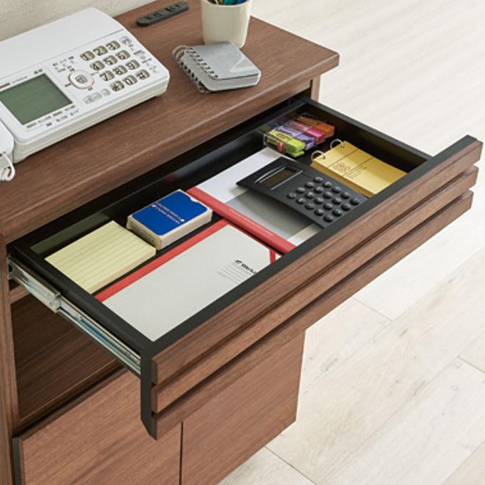 Remonte/ルモンテ 格子FAX台シリーズ FAX台 幅90cm ペンやメモ帳などをさっと取出せる天板下の浅引き出し。