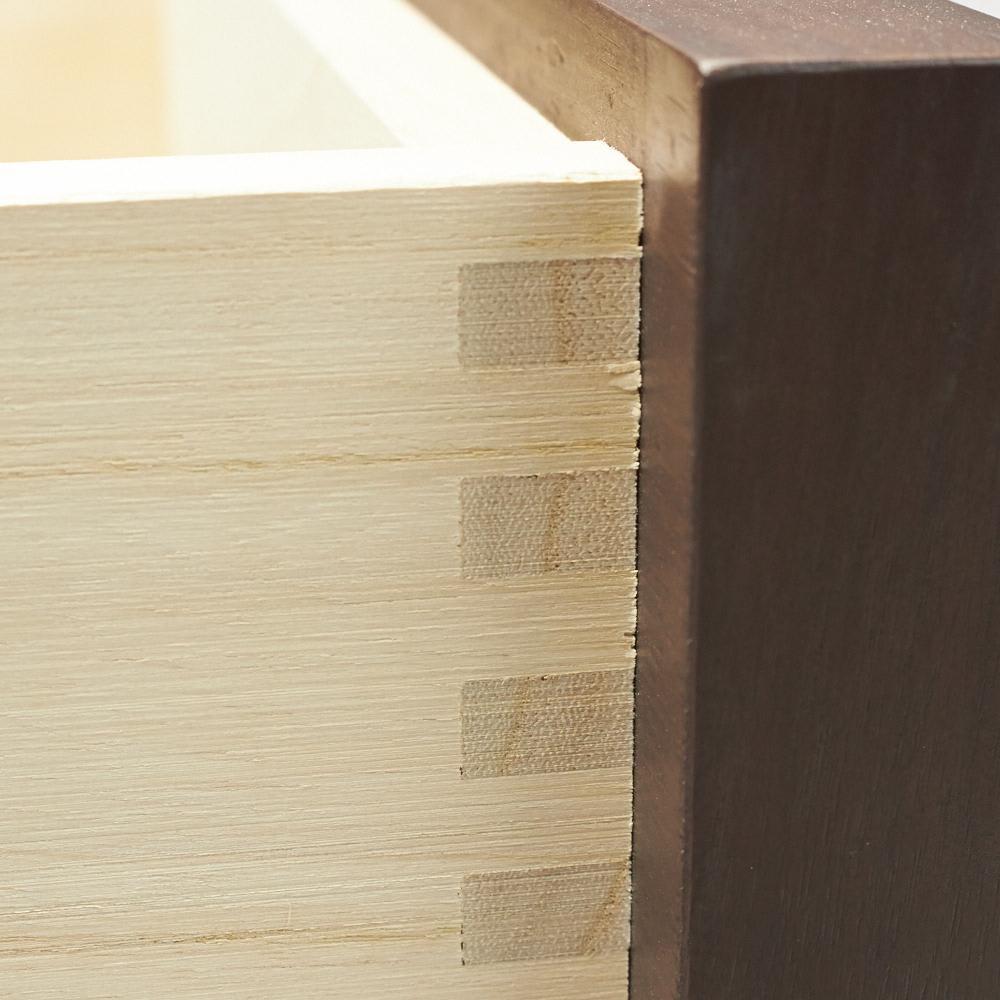 ウォルナット格子リビング収納シリーズ 引き出しタイプ 幅80cm 引き出しはしっかりした作りの箱組仕様