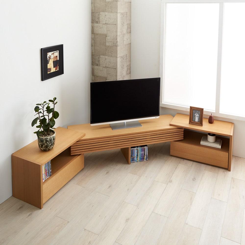 Loire/ロアール 天然木格子伸縮テレビ台 幅149~283cm [コーディネート例]オーク
