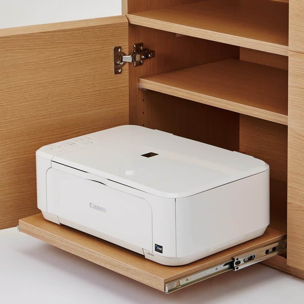 SabioII/サビオ リビング家電収納 サイドボード幅110cm 下部のスライド棚にはプリンターを機能的に収納できます。