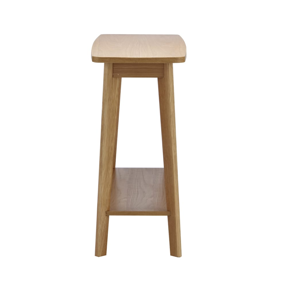 オーク天然木 リビングテーブル 棚付きコンソールテーブル [WOODMAN・ウッドマン] 横から見ると、実にスリム。使い勝手は十分なんです。